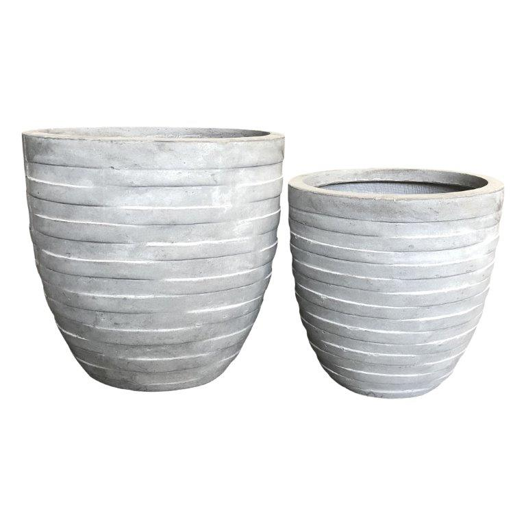 DurX-litecrete Lightweight Concrete Rough Surface Light Grey Planter-Round