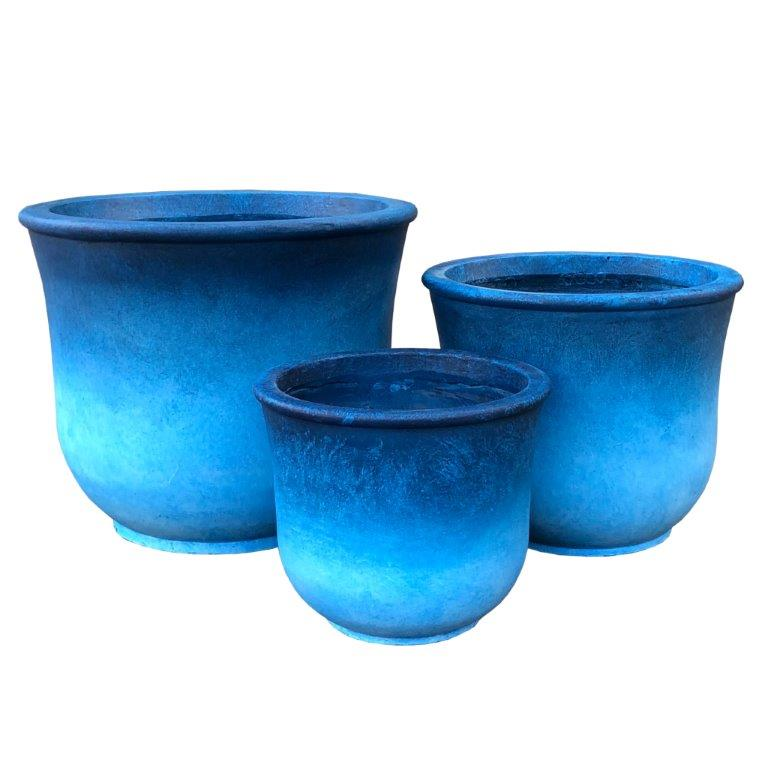 DurX-litecrete Lightweight Concrete Tall Bell Blue Planter - Set of 3