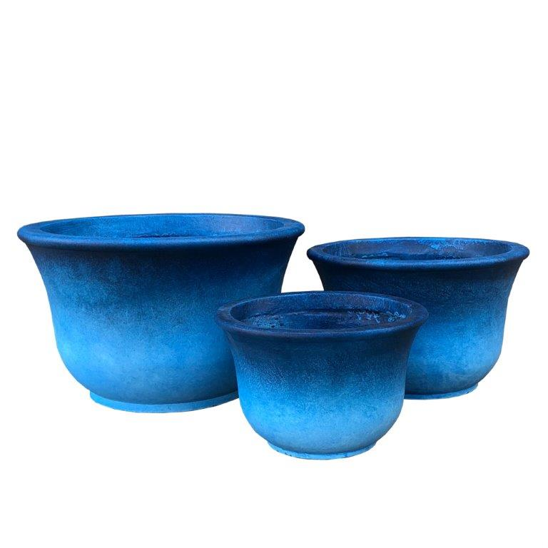 DurX-litecrete Lightweight Concrete Low Bell Blue Planter - Set of 3