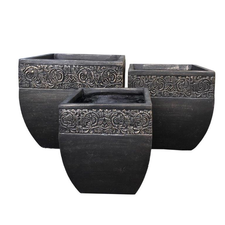 DurX-litecrete Lightweight Concrete Square Fancy Rim Wash Bronzewash Planters - Set of 3