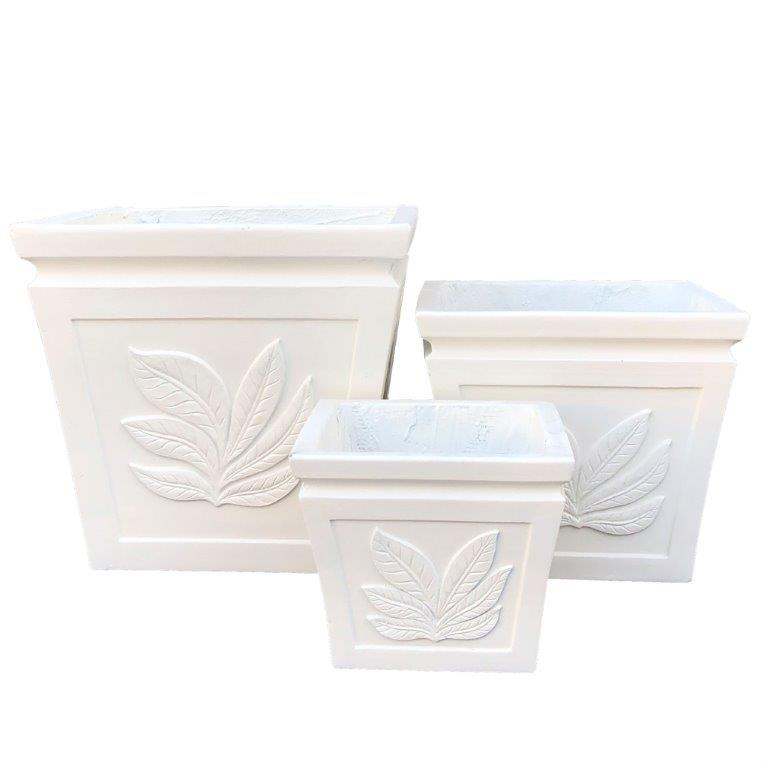 DurX-litecrete Lightweight Concrete Square Leaf Light Cream Planter - Set of 3