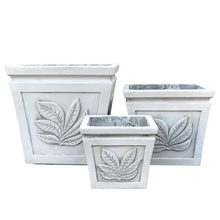 DurX-litecrete Lightweight Concrete Square Leaf Light Grey Planter - Set of 3