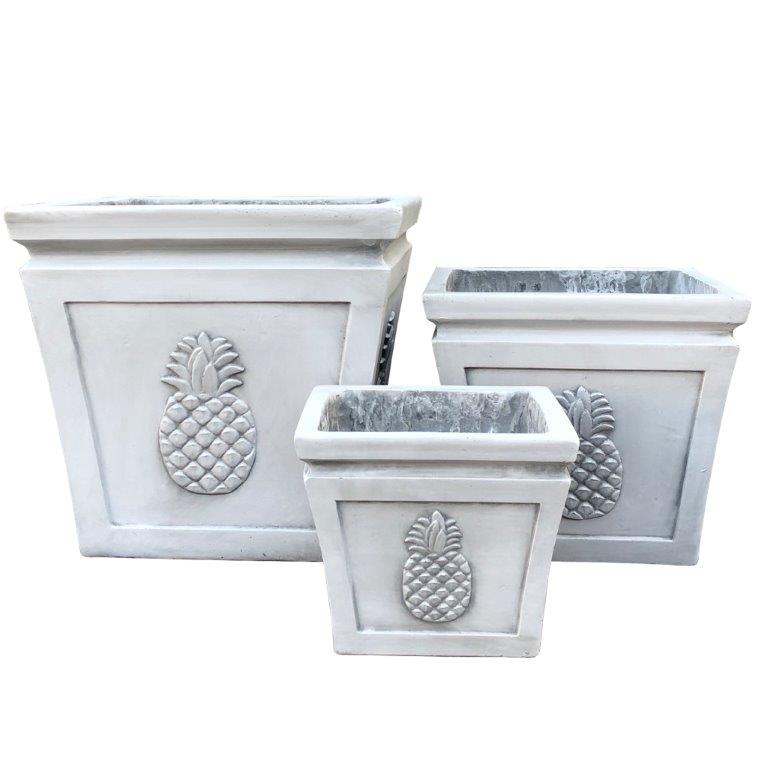 DurX-litecrete Lightweight Concrete Square pineapple Light Grey Planter - Set of 3