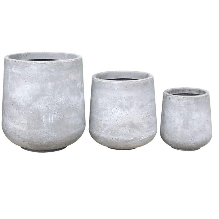 DurX-litecrete Lightweight Concrete Cylinder Light Grey Planter - Set of 3