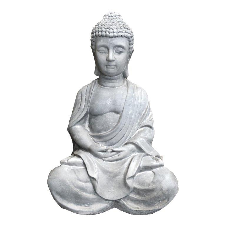 DurX-litecrete Lightweight Concrete Traditional Buddha Light Grey Sculpture
