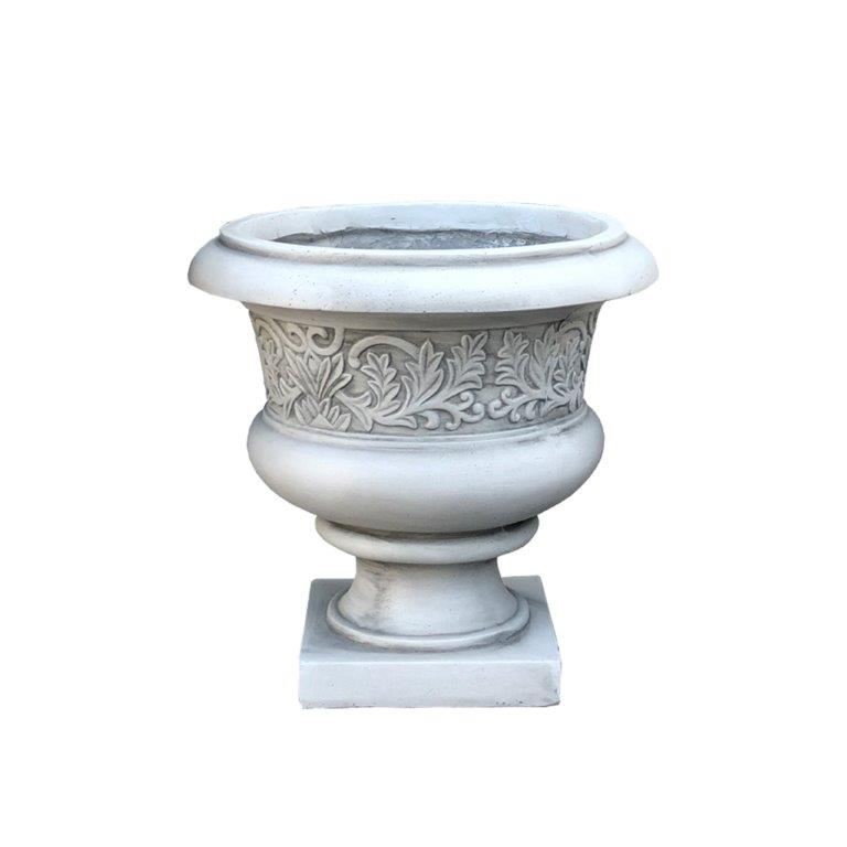 DurX-litecrete Lightweight Concrete Low Fancy Urn Light Grey Planter-Small