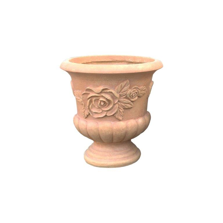 DurX-litecrete Lightweight Concrete Concrete Rose Urn Light Terracotta Planter-Small