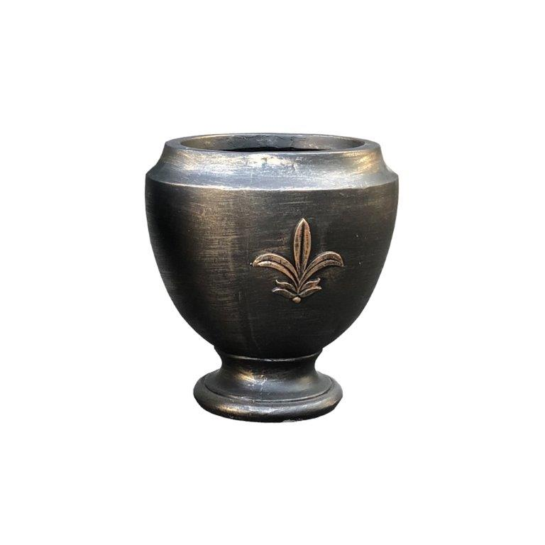 DurX-litecrete Lightweight Concrete Fleur Footed Bronze Planter