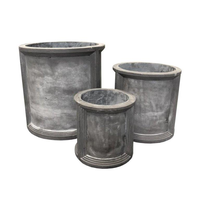 DurX-litecrete Lightweight Concrete Cilindro Dark Grey Planter - Set of 3