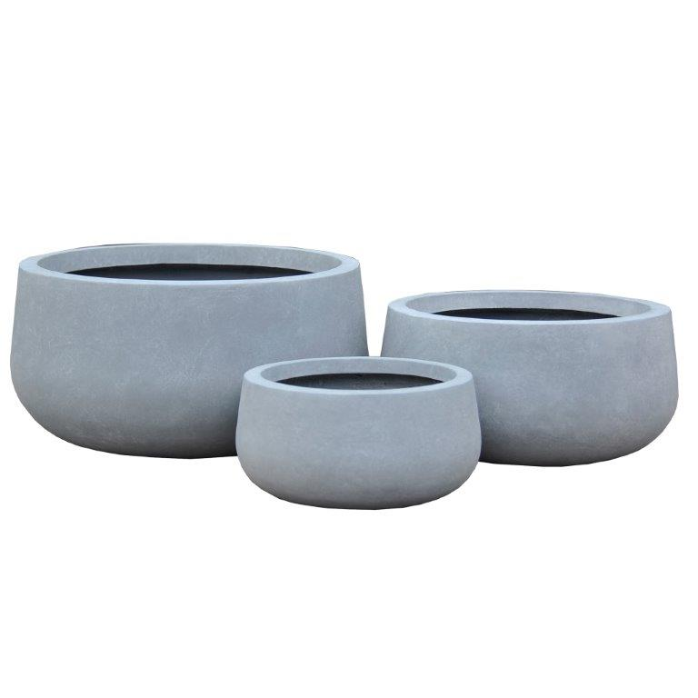 Durx-litecrete Lightweight Concrete Low Bowl Cement Planter - Set of 3