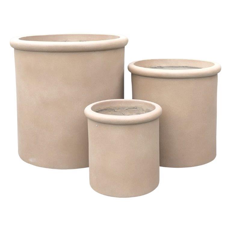 DurX-litecrete Lightweight Concrete Tall Rim Cylinder Light Brown Planter - Set of 3