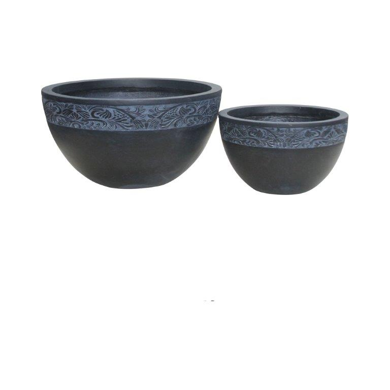 DurX-litecrete Lightweight Concrete Carved Granite Planter-Round - Set of 2
