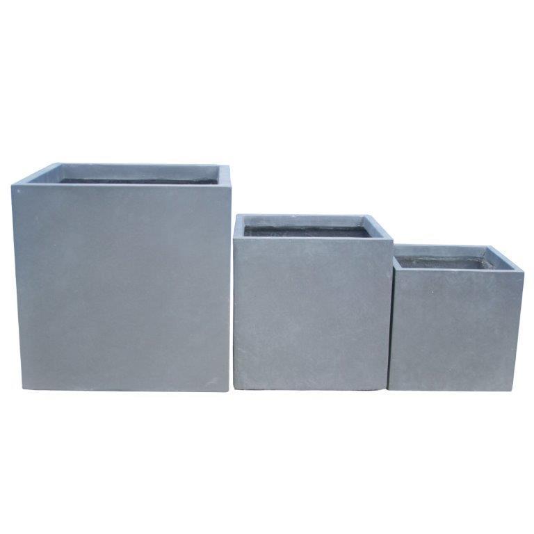 DurX-litecrete Lightweight Concrete Smooth Square Cement Planter - Set of 3