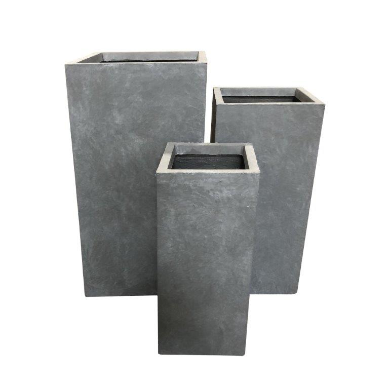 DurX-litecrete Lightweight Concrete Tall Rectangle Cement Planter - Set of 3