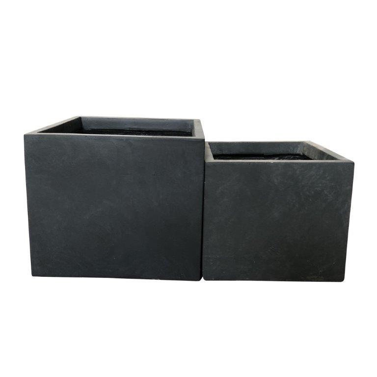 DurX-litecrete Lightweight Concrete Square Wash Granite Planter - Set of 2