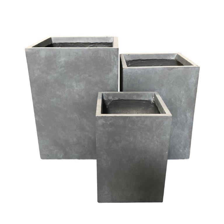 DurX-litecrete Lightweight Concrete Tall Square Cement Planter - Set of 3