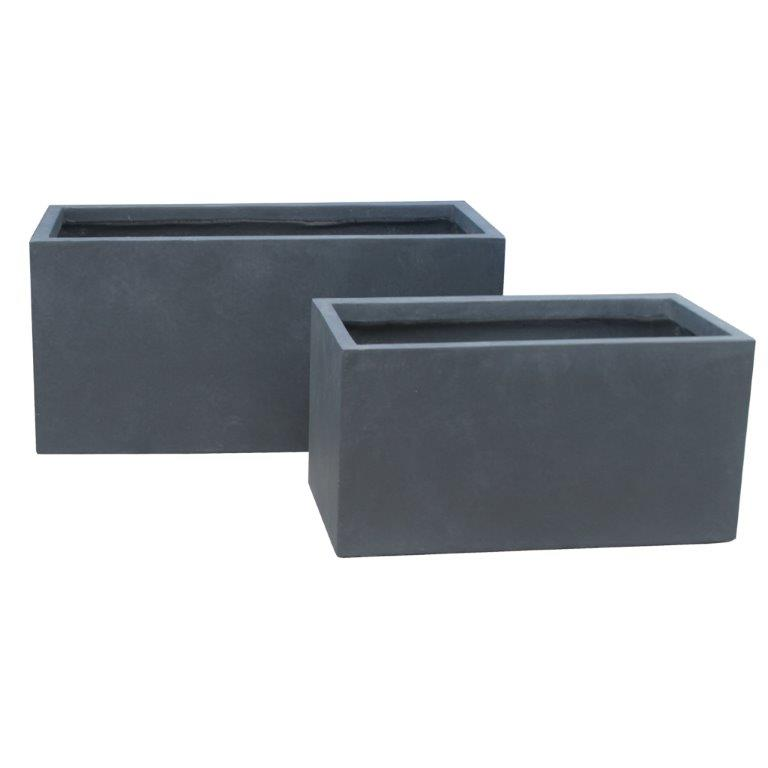 DurX-litecrete Lightweight Concrete Smooth Rectangle Granite Planter - Set of 3