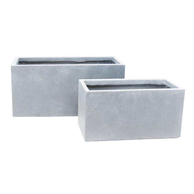 DurX-litecrete Lightweight Concrete Smooth Rectangle Cement Planter - Set of 3