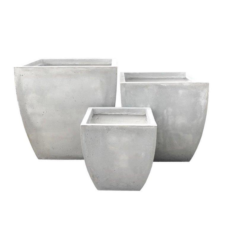 DurX-litecrete Lightweight Concrete Carve Corner Square Light Grey Planter - Set of 3
