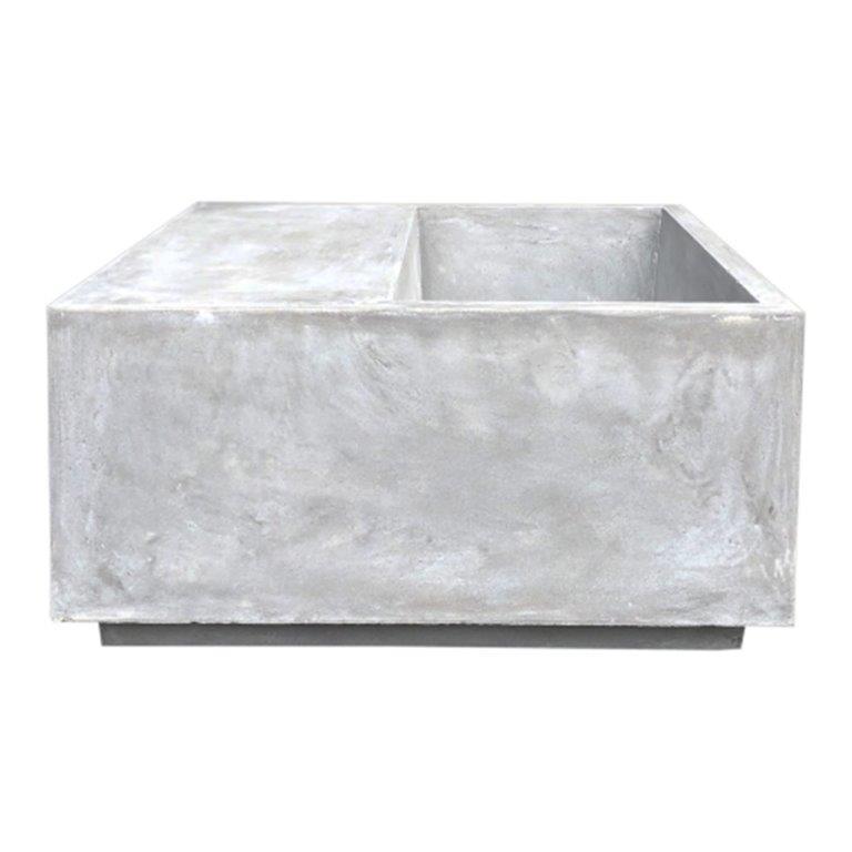 DurX-litecrete Lightweight Concrete Wide Multi-function Light Grey Planter