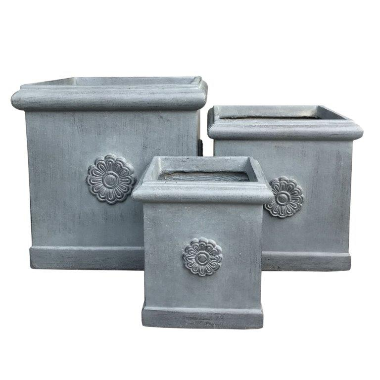 DurX-litecrete Lightweight Concrete Flower Medallion Square Antique Rust Planter - Set of 3
