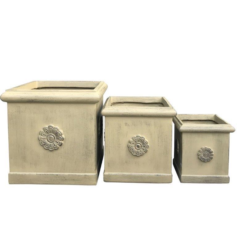 DurX-litecrete Lightweight Concrete Flower Medallion Square Brownstone Planter - Set of 3