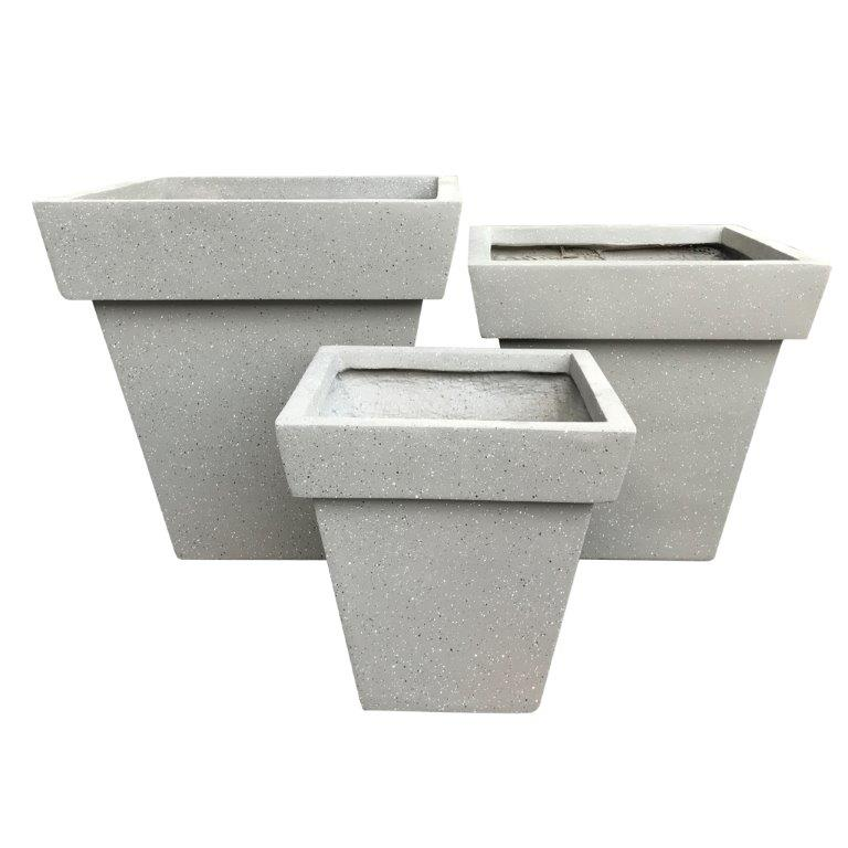 DurX-litecrete Lightweight Concrete Square Stackable Wash Grey Planters - Set of 3