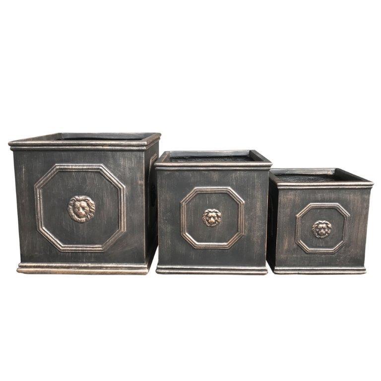 DurX-litecrete Lightweight Concrete Lion Head Square Bronze Planter - Set of 3