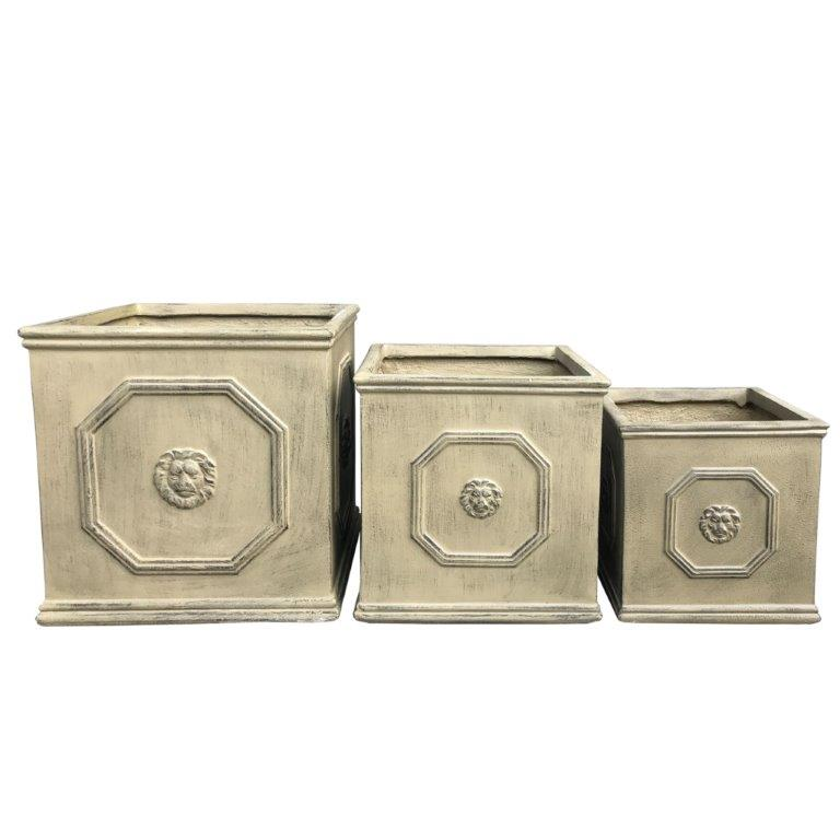 DurX-litecrete Lightweight Concrete Lion Head Square Brownstone Planter