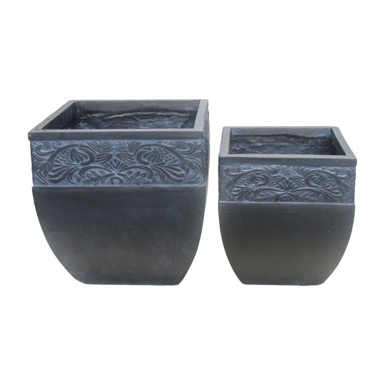 DurX-litecrete Lightweight Concrete Carved Granite Planter-Cube - Set of 2
