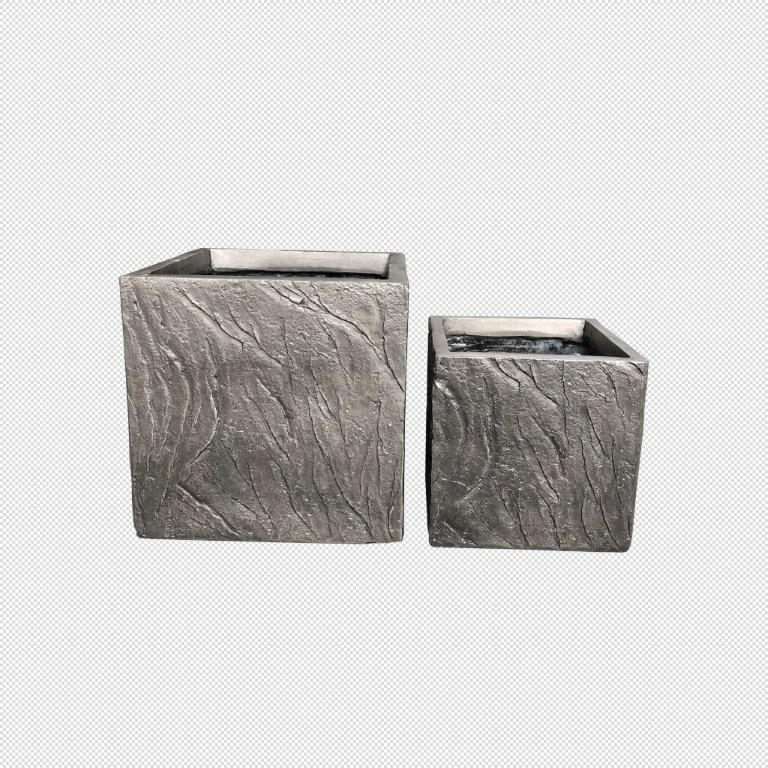 DurX-litecrete Lightweight Concrete Slate Cube Dark Brown Planter - Set of 2