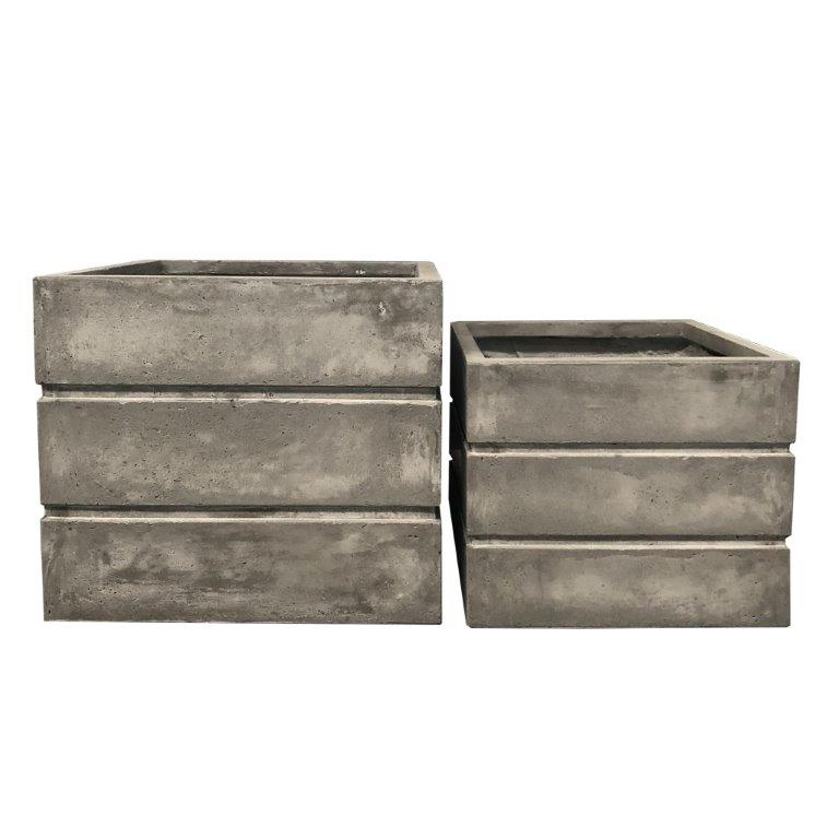 DurX-litecrete Lightweight Concrete Crate Square Light Grey Planter