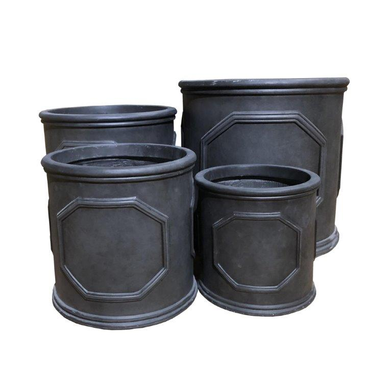 DurX-litecrete Lightweight Concrete British Frame Cylinder Granite Planter - Set of 4