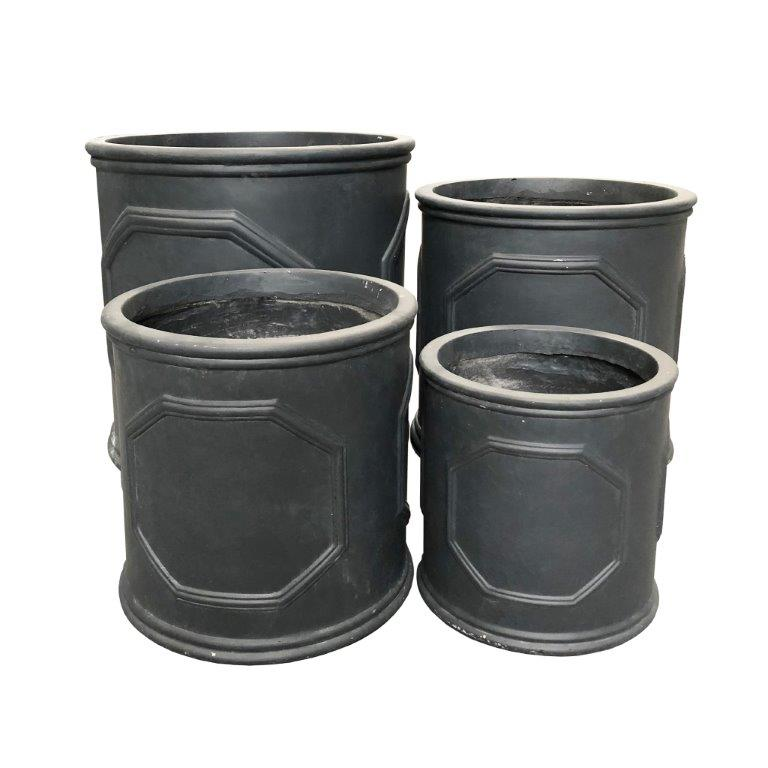DurX-litecrete Lightweight Concrete British Frame Cylinder Black and brush silver  Planter - Set of 4