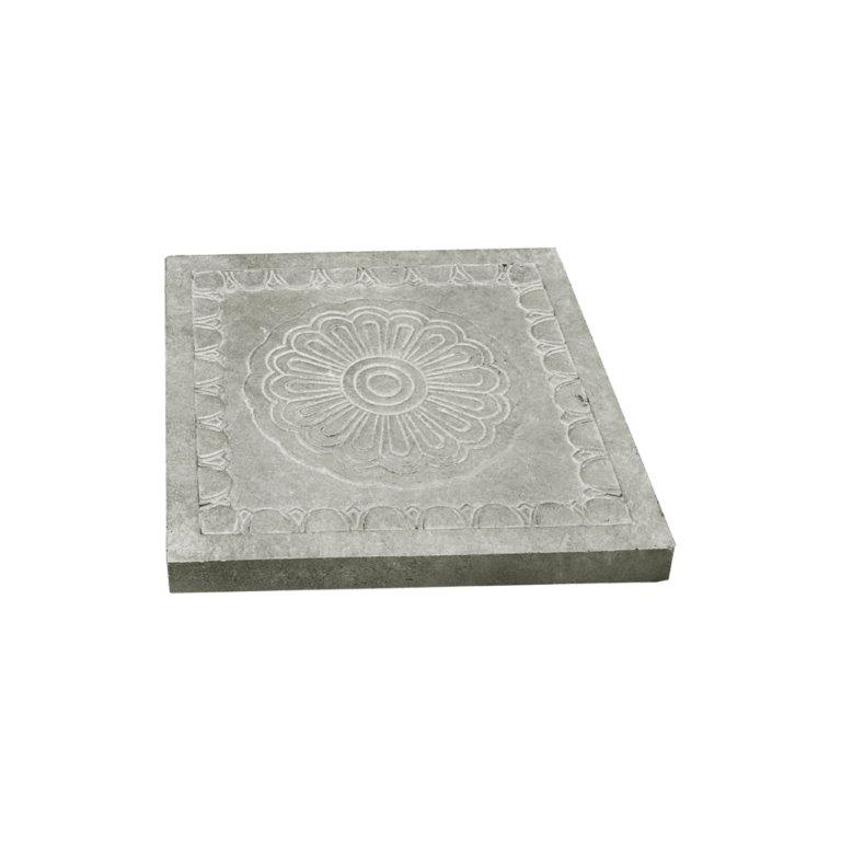 DurX-litecrete Lightweight Concrete Rosetta Square Natural Concrete Stepping Stone - Set of 2
